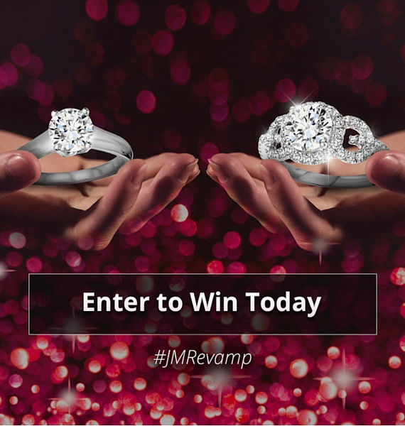 Pink background with sparkles, a solitaire diamond ring and ornate ring promoting upgrade contest